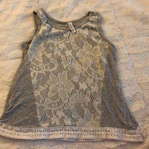 Girls gray lace tank top size 8